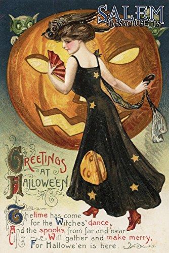 Salem, Massachusetts-Halloween Grußkarte-Hexe Dancing und Kürbis-Vintage Artwork, Papier, multi, 16 x 24 Giclee Print