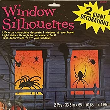 halloween large spider silhouettes glowing window decorations x 2