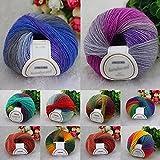 Sanwood® 1Rolle Weiche, gehäkelte Pullover Schal hat Mehrfarbig Stricken Wolle Garn, 50g, multi, 40