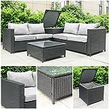 Rattan Polyrattan Lounge Sitzgruppe Garnitur Gartenmöbel aus 4 Sitze Sofa, Aufbewahrungsbox für Kissen, Tisch mit Glassplatte