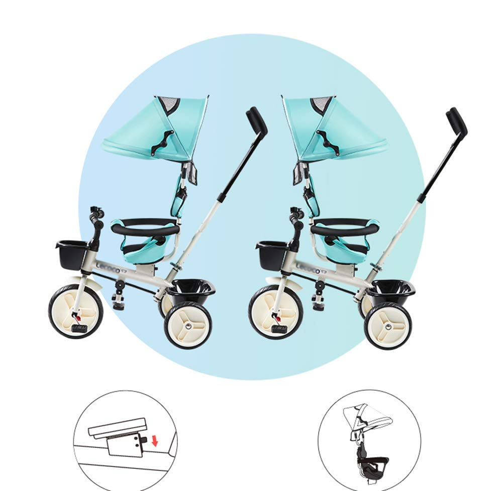 L@LILI Lightweight Children's Tricycle 1-3 Year Old Stroller Trolley Seat Can Be Rotated in Both Directions Multi-Purpose Titanium Wheel Carriage,A  Foldable footrest, adjustable push handle (88-93cm) for different ages Fully enclosed wheel, rear wheel brake, safe and secure Handrail built-in connecting rod, which can control the direction of the car through the armrest 8