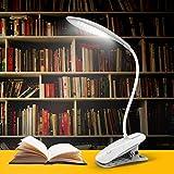 Yunbaoit LED Leselampe Buchlampe, wiederaufladbar Klemmleuchte, 3 Helligkeit und Touch Sensing Control USB Schreibtischlampe dimmbar weiß, 360-Grad-Klapparbeit, LED licht mit Klammer