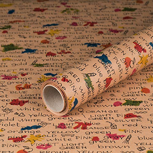 Geschenkpapier Colors Farben, Kraft-Papier, glatt, 60 g/m², Geburtstagspapier, Vintage - 1 Rolle 0,7 x 10 m