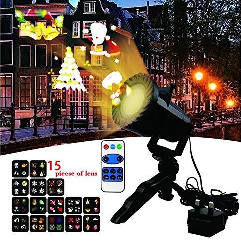 LED Projektionslampe Von Colleer mit 15 Wechselbaren Musters, Led Projektor IP65 für Innen/Außenfür Disco,Festen,Weihnachten,Geburtstag,Hochzeit