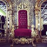 Harald Glööckler Majestätischer Luxus Barock Thron Sessel Pompöös by Casa Padrino Lion Bordeaux/Gold
