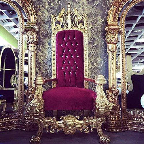 Harald Glööckler Majestätischer Luxus Barock Thron Sessel Pompöös by Casa Padrino Lion Bordeaux/Gold (König Stuhl)