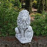 Herrlicher Stein - Löwe mit Wappen Schild links Torwächter aus Steinguss, frostfest