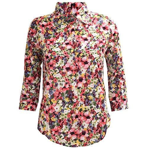 TOOGOO (R) Retro Blusa Colorida Floral Flor Estampado Gire hacia abajo Collar Boton Gasa Tops Rojo M