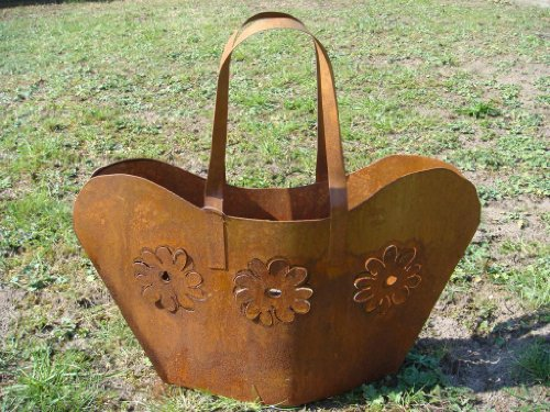 Tasche Metall Rost Pflanztasche Gartendeko Beetdeko Windlicht Pflanzschale Blumentopf Übertopf Edelrost 50cm