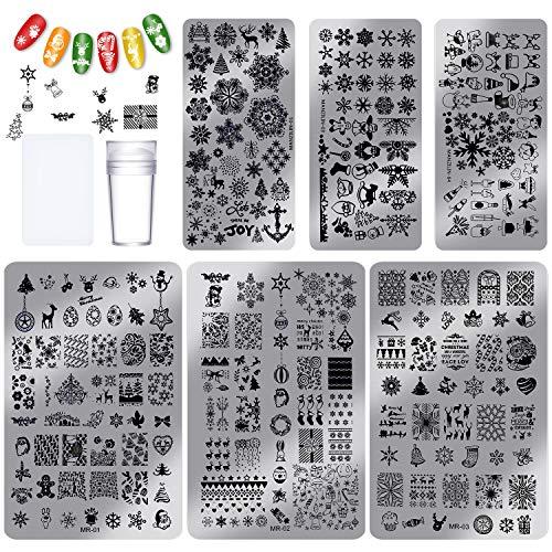 8 Stücke Weihnachten Nagel Stempel Zubehör, Einschließlich 6 Stück Nagel Stempel Platten, Stampfer, Schaber für DIY Nagel Kunst