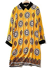 5a0f9dcc789a YYD  Womens été Turn Up manches T-shirt dames imprimé nouveauté Top ample  robe