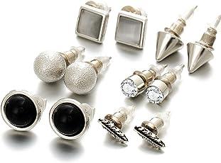 Shining Diva Fashion Silver Plated Stylish Fancy Party Wear Stud Earrings For Women & Girls - Combo of 6(Silver)(cmb267)