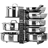 Toplife Porte-casseroles, 3 DIY Méthodes Porte-casseroles Support en Acier Inoxydable Rangement Cuisine avec 10 Compartiments