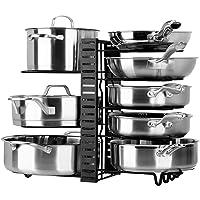 Toplife Porte-casseroles, 3 DIY Méthodes Porte-casseroles Support en Acier Inoxydable Rangement Cuisine avec 10…