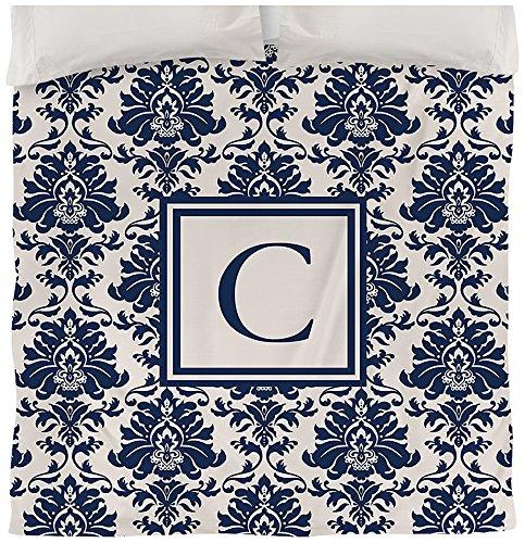 Manuelle holzverarbeiter & Weavers Bettbezug, Queen/Full, Monogramm Buchstabe C, Damast blau (Damast-bettdecke-bettwäsche)