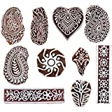 Hashcart (Set of 10) Mughal Design Wooden Printing Stamp Block Hand-Carved for Saree Border Making Pottery Crafts Textile Printing