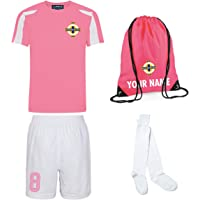 Personalised Northern Ireland Style Kit Pink Football Shirt, Bag, White Shorts, and Socks for Girls and Boys Best…