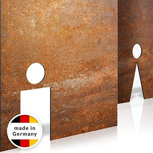 INOXSIGN Vintage WC-Schilder Set T03R - Selbstklebend - Retro Toilettenschilder - klar erkennbares Design - werkzeuglose Montage - beinhaltet Herren- & Damen Kloschild - Shabby chic - Made in Germany Damen-montage
