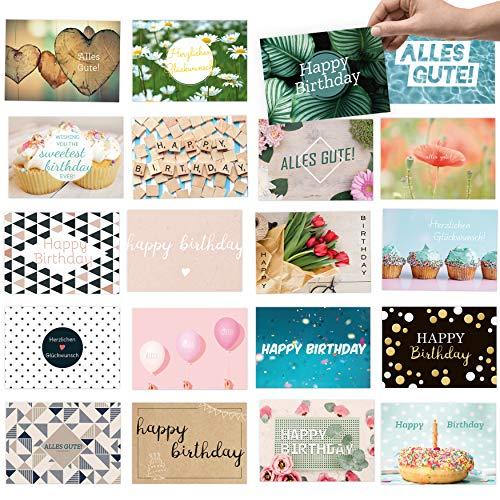 20x moderne Glückwunschkarten im Set, DIN A6 - Wünschen Sie alles Gute zum Geburtstag im modernen Design mit dem Geburtstagskarten-Set für Frauen & Männer -