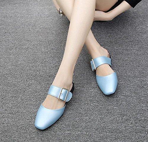 Wild mit niedriger Permeabilität Baotou Frauensandelholzen Frauen Pantoffeln Sommer Light Blue