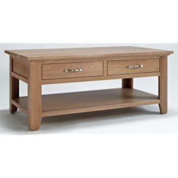 hallowood camberley 4 drawer large coffee table with light oak finish solid wooden rectangular shaped lounge storage ca6114
