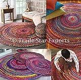 Trade Star Exports Rund Geflochten Teppich, Indischen Fußmatte, Wendbar Baumwolle Teppiche, Ethnic Mehrfarbig Teppiche für Zimmer