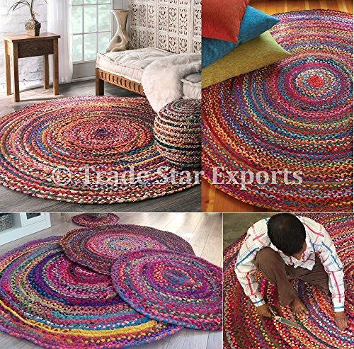 Redondo trenzado alfombra, indio, alfombra, reversible algodón alfombras, étnico multicolor alfombra para habitación