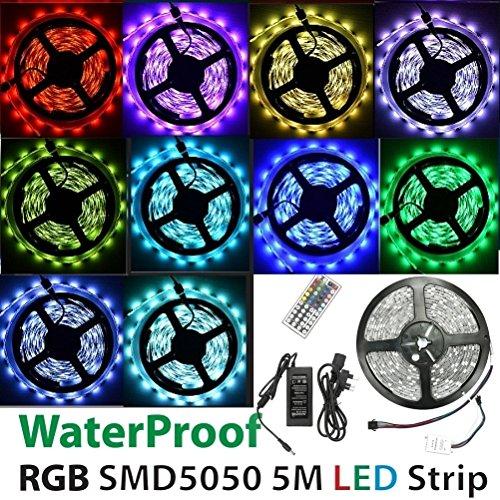 wasserfeste RGB LED Klebestreifen-Lichter, flexibles Band 5 Meter/300LEDs SMD 5050 - mehrfarbig mit Bedienung [version:x7.2] by DELIAWINTERFEL Flexibles Licht