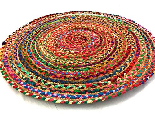Second Nature Comercio Justo 60cm Redondo Trenzado Alfombra algodón Yute Alfombra Chindi