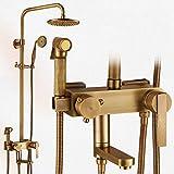 Wasserhähne Warmes und kaltes Wasser große Qualität Retro Dusche Kit voll Kupfer Duschen Dusche Leitungswasser heiße und kalte Druckluft Sprühpistole vierten Gang Spray Dusche Leitungswasser