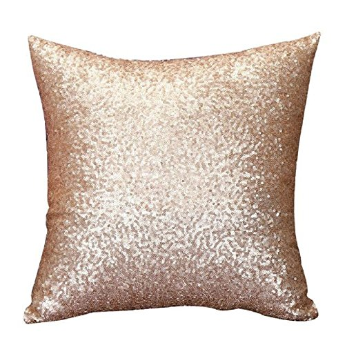 Indexp Glitter Sequins Solid Color Pillowcase Home Decor Sofa Cushion Cover (Gold)