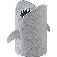 KIKOM Panier de Rangement Pliable, Requin Feutre Panier à Linge,Bébé Grand Panier de rangement Gris Panier Stockage pour…