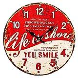 Preis am Stiel 1x Wanduhr Vintage - ''Life is Short'' | Nostalgie | Modern | Groß | Design | Uhren | für Wohnzimmer | Dekoration | Schmücken | Küchenuhr