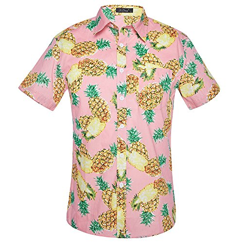 Antooto Herren Summer Kurzarm Hemd Print Hawaiian Shirt Funky Mens Short Sleeve Hawaiian Print Hawaiian (Hawaiian Mens Camp-shirt)
