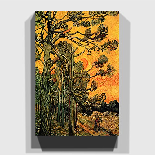 BIG Box Art Vincent Van Gogh Pine Trees Against a Red Sky Canvas Wall Picture Ready to Hang, Multi-Colour, 20 x 14-Inch -