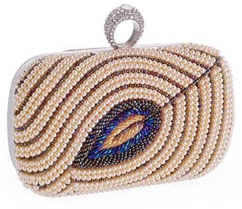 ERGEOB Damen Abendtasche Damen Perle Perlen handgearbeiteten Tasche schwarz 02 champagner Farbe