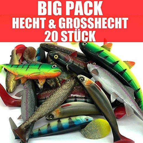 Jackson Profi Gummifisch Set - BIG Hecht & Großhecht Angeln 17,5-30cm - 20 STÜCK
