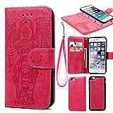 Coque iPhone 6 6S Etui Flip Cover Clapet 2 en 1 Coque Protecteur en Cuir PU avec TPU Silicone Housse avec Portable Dragonne Stand Support et Carte de Crédit Slot -- Rouge