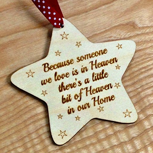 AYOT Because some we love is in heaven Wooden Memory Star, Christmas Tree Decoration Memorial Bauble