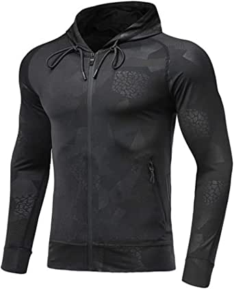 Mens Lightweight Gym Hoodies Zip Up Running Jacket Quick Dry Workout Hoody Breathable Hooded Sweatshirt Comfy Jogging Fitness Exercise Tracksuit Tops