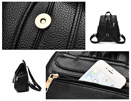 Bopopo Frauen einfacher beiläufiger Beutel PU-lederner Geldbeutel-Handtaschen-Schulter-Beutel Pink Schwarz
