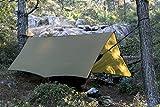 OneTigris Wasserdicht Leichte Ripstop Tarp/Sonnensegel für Camping Wandern 3 × 4m Kompakt Vielseitig Durable Backpacking Persenning (Braun)