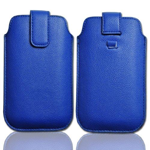 Handy Tasche Etui Hülle Schutz Case Leder blau / blue W22 Gr.3 für Alcatel One Touch Play 991D / ZTE Skate / Sharp Aquos Phone SH80F / Huawei U9200 Ascend P1 / ZTE Tania / Huawei Ascend D quad / Huawei Ascend D quad XL / LG Jil Sander Mobile E906 / Base Lutea 2