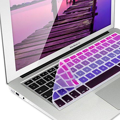 kwmobile Tastaturschutz für Apple MacBook Air 13''/ Pro Retina 13''/ 15'' (bis Mitte 2016) - QWERTZ Silikon Laptop Abdeckung Pink Violett