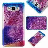 Owbb Hülle für Samsung Galaxy J7 (2016 Version , 5.5 zoll) J710 Smartphone Transparent Weiche TPU Glitzer Dynamisch Treibsand Liquid mit Kratzfeste Function Shiny Wolken Regenbogen Muster