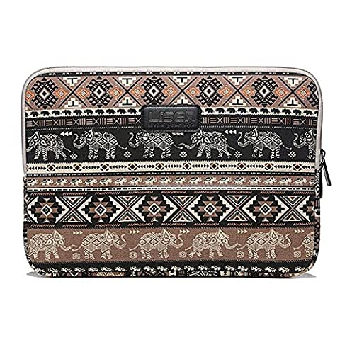 ZiXing 14 inch High-Grade Canvas Fabric Elephant and Diamond Pattern Laptop Sleeve Ultrabook Protective Jacket for Macbook Pro/Air, Ultrabook, Netbook, iPad Pro