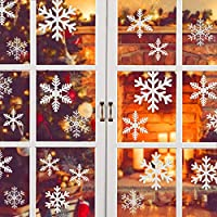 Snowflake Window Clings, Christmas Snowflakes Sticker Reusable Static Pvc Stickers Original Snowflake Window for Xmas ThanksGiving Decorations Ornaments Party Supplies