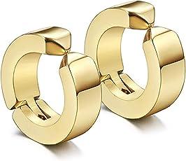 Miami Branded Jewellery Gold Clip-on Press Unisex Stud non-piercing hoop earrings/Earring For Men/Boys/Boyfriend/ - BALI-124