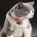 Cupcinu Haustierhalsbänder Stoff einstellbar Katzenhalsbänder Welpenhalsbänder rote Pflaume Kätzchen Bell Hundehalsbänder Size XS-12-21cm (Rot)