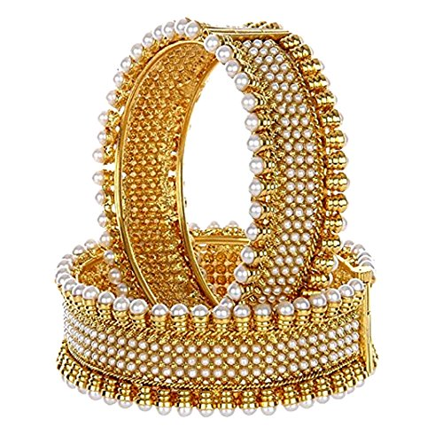 Designer Adjustable Pearl Studded Traditional Pair of Bangles/Kada for Women/Girls by GoldNera